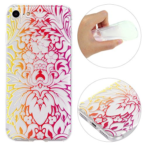 "Coque iPhone 7 Apple ,iPhone 7 Silicone Case Rosa Schleife® Ultra Mince Souple TPU Silicone Gel housse de protection Etui antichoc Etui pour Apple iPhone 7 (4.7"") -Mandala Brun Fleurs de Phoenix"