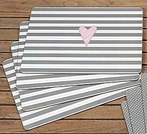 tischsets abwaschbar lay gestreift grau rose 40x30 cm k che haushalt. Black Bedroom Furniture Sets. Home Design Ideas