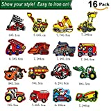 Unique Store Toppa Auto 16-Pack Toppe Termoadesive Auto per Bambini, Adatte A Fai da Te, Jeans, Abbigliamento, Giacche, Zaini, Sciarpe. (16-Pack) (Car-16)