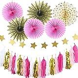 SUNBEAUTY Paquete de 11 Piezas Pompom Flores y Bolas de Papel Rosa Decoración de Interiores Fiesta Boda Decoración Para Colgar Cumpleaños Fiestas San Valentines Festival