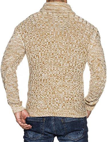 TAZZIO Styler Herren Strick-Pullover mit Schal-Kragen Slim-Fit Körperbetont 16488 Ecru