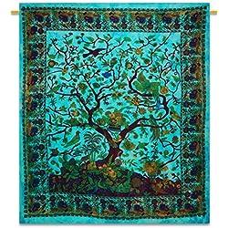 """Handicrunch árbol de la tapicería de la pared cuelgan tapices tapiz vida llena de algodón hojas de tamaño 92 """"x 82"""""""
