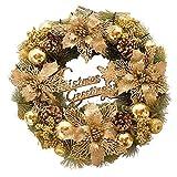 Surenhap Weihnachtskranz, Weihnachtsdeko Gold Weihnachtsgirlande mit Kugeln Türkranz Size 40 * 40 cm