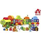 AdiChai 75Pc Alphabet Train Building Blocks Learning Letters,Words and Spelling Educational Block Game Play Set for Kids