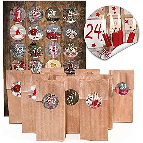 24sacchettini natalizi con inserto pergamena,anche per biscotti,(7x 4x 20,5cm) e 24adesivi rotondi 4cm