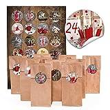 24 braune Adventskalender-Tüten mit Pergamineinlage - auch f. Kekse - (7 x 4 x 20,5 cm) und 24 runde Aufkleber 4 cm 'Adventskalender Zahlen Sticker 1 bis 24' für tolle Adventskalender zum selber basteln und befüllen; 1a Qualität!