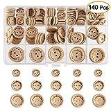 FEPITO Handmade mit Liebe Holzknopf 15mm 20mm 25mm Runde Form Holzknöpfe zum Nähen und Basteln von Dekorationen