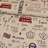 Dekostoff I Love London hellbeige Cavasstoff - Preis gilt