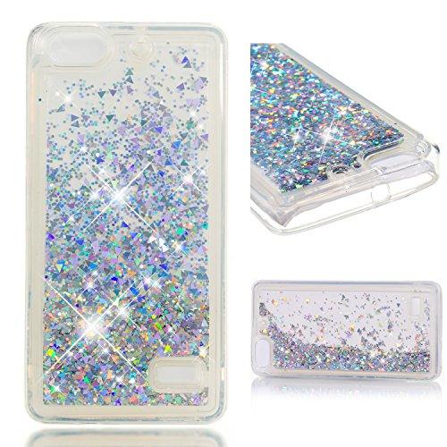 Cozy Hut Huawei Honor 4C Hülle Bling Glitzer Diamant Liebe Herzen Flüssig Flowing Liquid 3D Transparent Rückseite Handytasche für Huawei Honor 4C - Gold und Silber Diamantkristall