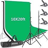 Neewer 2,6 x 3 m Hintergrundstativ-Unterstützungssystem mit 3 x 6 m Hintergrund (weiß schwarz grün) und Tragetasche für…