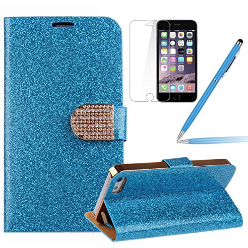 iPhone 6s plus Handyhülle,iPhone 6 plus Case,iPhone 6S plus Hülle - Felfy Sleek Simple Gold Luxury Luxus Bling Sparkle Flip PU Leder Wallet Case Tasche Schutz hülle Etui für Apple iPhone 6 pplus 5.5 Z Blau