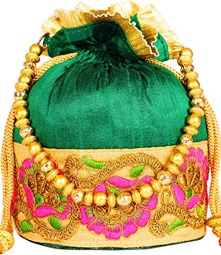 Bombay Haat Ethnic Rajasthani Potli Bag/Bridal Clutch/Bridal Purse for Party/Wedding/Wedding Gift (Green)