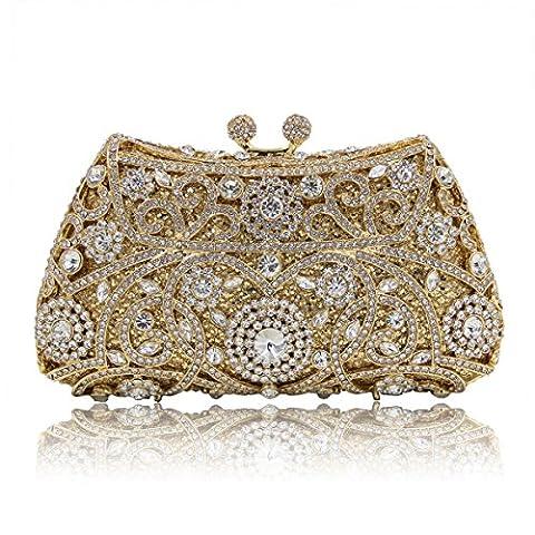 KAFEI Weibliche Abendessen Abend Tasche diamant Gravur Hochzeit Partei Partei Braut, White Gold