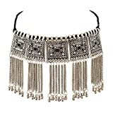 Zephyrr Fashion Boho Style Trendy Oxidized Silver Pendant Necklace With Tassel for Girls and Women
