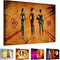 AB725 WOYW Framed Canvas Print - A Modern Wall Art - Abstract Picture - Colour Options - Red Orange African Women Tribal Drawing - Living Room & Home Decor with Easy Hang Guide (20x30)