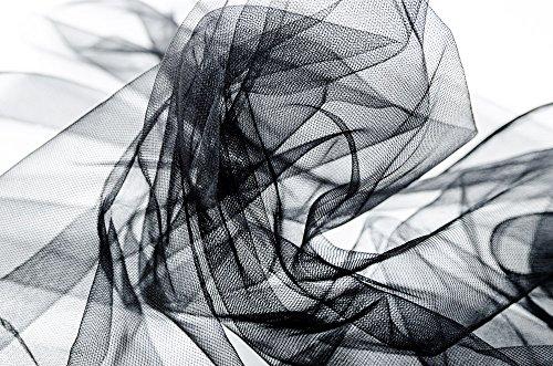 Mode-stoff (Tüllstoff Stoff, Meterware, Deko, Mode, Hochzeitsdeko, Dekostoff, bis zu 15 Farben wählbar (schwarz))