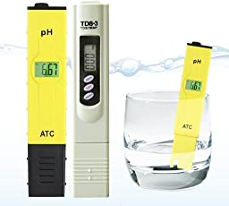 divinext Ph & TDS Meter Set, Combo of +/- 0.1ph High Accuracy Ph Meter and +/- 2% Readout Accuracy TDS Meter