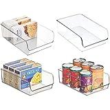 mDesign Uppsättning av 4 förvaringsfack – perfekt som köksbricka i köksskåpen eller som kyllådor – klar