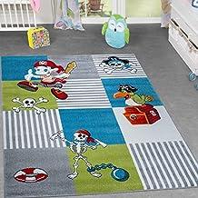 Alfombra infantil con Mundo pirata, Cofre del Tesoro y Papagayo. Para habitación de juegos. Cuadros, verde turquesa, gris, 80 x 150 cm