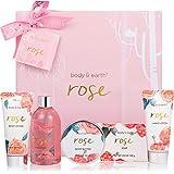 Coffret de Bain & Douche pour Femme, Body&Earth 6 Pièces Coffret Cadeau au Parfum de Rose, Idée Cadeau pour l'Anniversaire et
