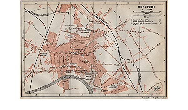 Broomy Hill Herefordshire Baedeker 1910 Map Hereford Antique Town City Plan