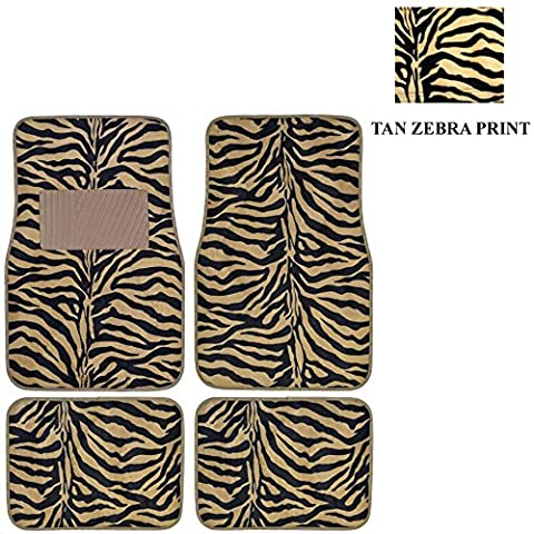 Beige Tan Zebra with Black Stripes Animal Print Safari Wild Series Front & Rear Car Truck SUV Carpet Car Floor Mats - 4PC by LA Auto Gear