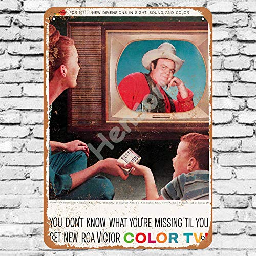 Henson 1960 RCA Victor Color Television Bonanza Traditional Vintage Tin Sign Logo 12 * 8 Advertising Eye-Catching Wall Decoration