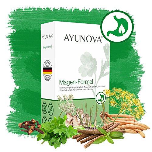 AYUNOVA Magen-Formel - 60 vegane Kapseln mit der einzigartigen Kombination aus bewährten Pflanzen, essentiellen Vitaminen und Mineralstoffen - Ihr täglicher Beitrag für eine gesunde Magenschleimhaut (Herbal-supplement-60 Kapseln)