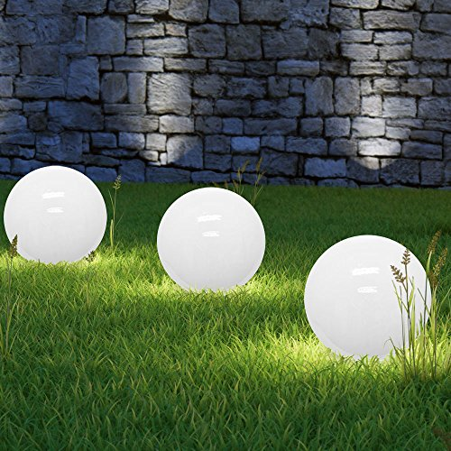 Monzana Lampe Solaire sphérique LED ø 30cm - Lumière Blanche - Allumage Automatique - Piquet de Fixation - Design Moderne - Lampe Boule