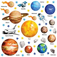 GET STICKING DÉCOR® EDUCATIONAL SPACE PLANET SOLAR SYSTEM WALL STICKERS COLLECTION, WaterCSpace SSYS.2, Glossy Vinyl, Multi Color. (Large)