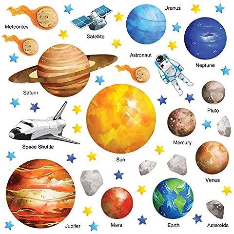 GET STICKING DÉCOR® Weltraum Sonnensystem Wandtattoo, Wandsticker Kollektion, Watercspace Ssys.2, Glänzend Herausnehmbar Vinyl, Multi Farbe. (Large)