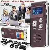 Wiederaufladbare 8GB Stahl Digital Voice Sound Handy Recorder Diktiergerät MP3-Player