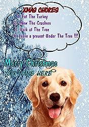 Golden Retriever Hund ptcc291Xmas Weihnachten Karte A5personalisierbar Karten geschrieben von uns Geschenke für alle 2016von Derbyshire UK...