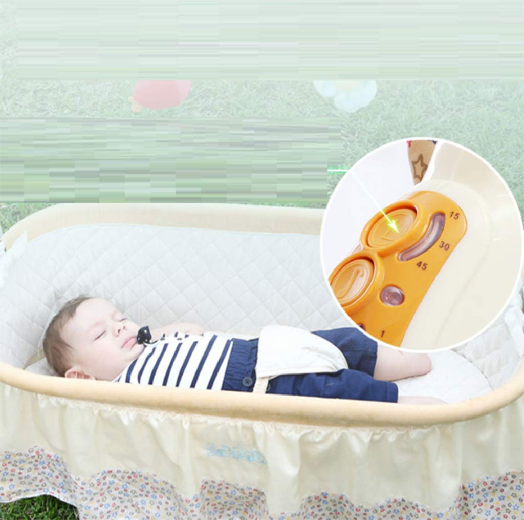 Baby Electric Cradle Bed - Rocking Chair Sleeping Basket Baby cot Smart Baby Artifact Sleepy Comfort Chair,3-Speed Electric Swing, Easy to Sleep,B AYUANCHUN From soothing swings, music and sounds to calming vibrations, light projections, and more, everything has everything to help your baby leave the dream comfortably. Sensory: A variety of soft textures, calm vibrations and swaying movements stimulate the baby's senses. Safety and well-being: Soft cushions, calm vibrations and gentle shaking help to soothe your baby, become a part of the nap and routine before going to bed, giving your baby a sense of security. 3