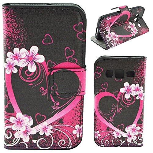 HUANGTAOLI Custodia in Pelle Portafoglio Flip Case Cover per Samsung Galaxy Core Prime 4G VE G361F(SM-G361,SM-G361F)
