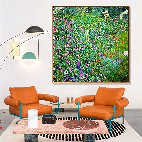 Hsln italian horticultural landscape by gustav klimt abstract canvas painting posters print wall art pictures for living room bedroom- 50x50cm frameless