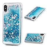 iPhone X Case, Blue Flowing Liquid 3D Glitter TPU Silicone Quicksand Case Floating Moving Bling Hearts Sparkly Print Clear Shockproof Protective Cover for Girls, Women by YOKIRIN
