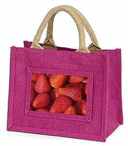 Advanta–Mini Pink Jute Bag Erdbeeren Print Little Mädchen klein Einkaufstasche Weihnachten Geschenk, Jute, pink, 25,5x 21x 2cm