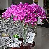 Calcifer® 100Künstliche 78,7cm Seide Phalaenopsis-Orchidee Vorbau Blumensträuße Künstliche Blumen für Hochzeit Party Home Garten Decor violett