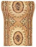 WE LOVE RUGS CARPETO Läufer Teppich Flur in Beige Creme - Orientalisch Muster - 3D-Effekt Dichter und Dicker Flor - Läuferteppich nach Maß - ISKANDER Kollektion 90 x 200 cm