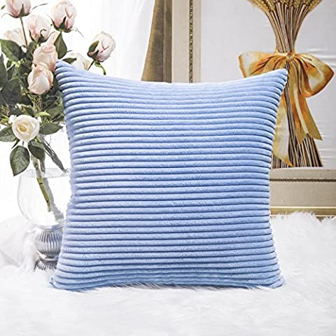 Home Brilliant Supersoft Square Throw Pillow Cover Euro Sham Decorative for Bed, Baby Boy Blue, 26 x 26