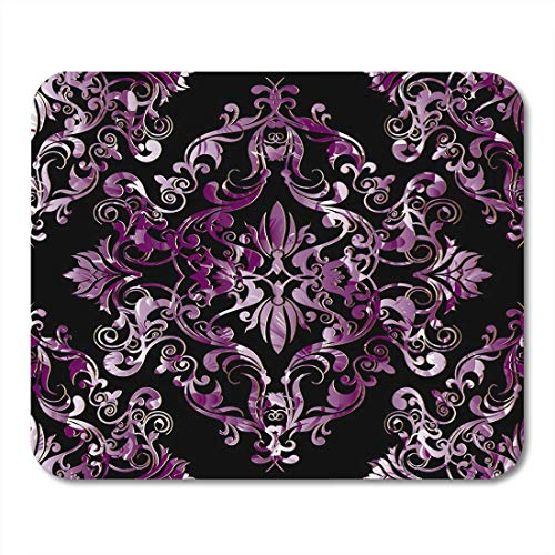 Deglogse Gaming-Mauspad-Matte, Pink Damask Black Floral with Antique Violet Baroque Flowers Scroll Leaves Patterned Ornaments Design Mouse Pad -