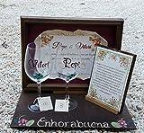 Regalo Boda de Oro o Boda de Plata personalizado y con dedicatoria personal vitrina y copas