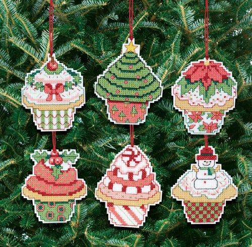 Janlynn - Kit para adornos de árbol de Navidad de punto de cruz, diseño de cupcakes