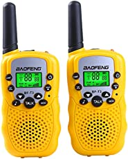 Xinrunhang Baofeng T3 Kids Walkie Talkies Mini Handheld Two Way Radios for Boys Girls Children Uhf 462-467Mhz Frquency 22 Channels - 1 Pair Yellow