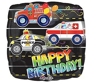 amscan 3332001 Happy Birthday Rescue Vehicles Globos de Papel de Aluminio