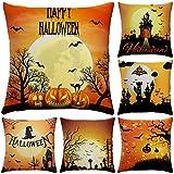 Hoomall 6PCS Housses de Coussin Halloween Decoratif Lit Linge Coton Taie d' Oreiller Maison Décor Taie d'oreiller pr Sofa 45x45cm (Rouge foncé)