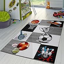 Alfombra Infantil De Baloncesto Fútbol Y Tenis A Cuadros En Gris Y Crema, Grösse:80x150 cm