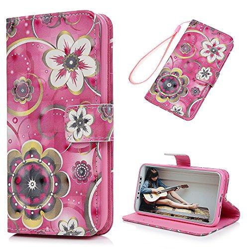 MAXFE.CO Lederhülle Case Schutz für iPhone X PU + TPU Etui Schale Backcover Brieftasche Gemalt 3D Flip Cover mit Kartenfächer Magnetverschluß Standfunktion Lotus Narzisse