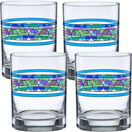 (Set of 4, Saguaro Flower) - Frank Lloyd Wright Saguaro Flower DOF Double Old Fashioned Glass 410ml Set of 4 4 Double Old Fashioned Gläser